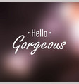 hello gorgeous inspiration and motivation quote vector image vector image
