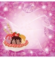 Ice Cream Strawberries and Abstract Background vector image vector image