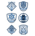 judaism religion and hanukkah holiday icons vector image vector image