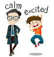opposite wordcard for calm and excited vector image vector image