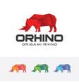 origami rhino logo vector image vector image
