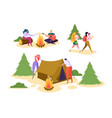 people camping forest nature set man woman walk vector image