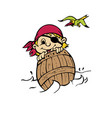 pirate in barrel on sea vector image