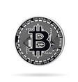 realistic silver bitcoin vector image