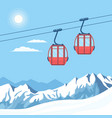 red ski cabin lift for mountain skiers vector image vector image