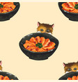 salmon cat ivory beige background vector image