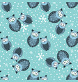 seamless winter pattern with cute owls and snow vector image vector image