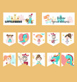 set cards with medieval knight princess vector image vector image