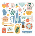set ceramic kitchen utensils and tools in flat vector image vector image