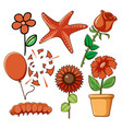 set flowers and other things in red vector image vector image