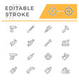 set line icons electric and hand tool vector image vector image