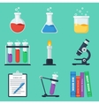 Set of flat chemistry icons vector image