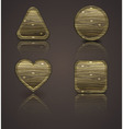 set of wooden icons wood figurines vector image vector image