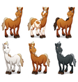 Six smiling horses vector image vector image