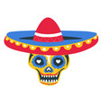 skull with sombrero and paint day dead vector image vector image