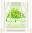 Summer background with an open window and green vector image vector image