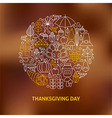 Thin Line Thanksgiving Day Holiday Icons Set vector image vector image