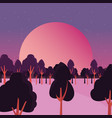 trees forest night stars night natural landscape vector image