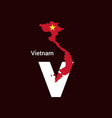 vietnam initial letter country with map and flag vector image