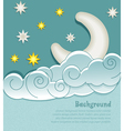 vintage background with moon clouds and stars vector image vector image