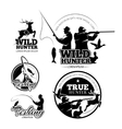 Vintage hunting and fishing labels logos vector image vector image