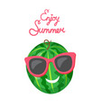 watermelon in sunglasses isolated cartoon fruit vector image