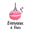 welcome to paris macaron character vector image vector image