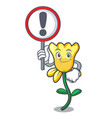 with sign daffodil flower character cartoon vector image vector image