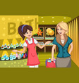 women in a soap store vector image vector image