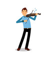 young musician playing a violin cartoon character vector image vector image