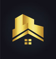 house roof construction building gold logo vector image