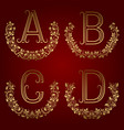 a b c d vintage monograms in floral wreaths vector image