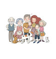 a happy family parents with children cute vector image