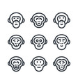 apes monkey chimp linear icons over white vector image