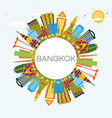 bangkok thailand skyline with color landmarks vector image vector image