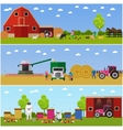 banners of village life flat design vector image vector image