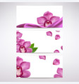 banners with orchid flowers vector image