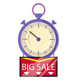 big sale clearance limited time banner with clock vector image vector image