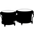 bongo drums silhouette vector image vector image