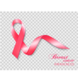 breast cancer awareness ribbon on a transparent vector image