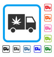cannabis delivery van framed icon vector image vector image