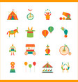 cartoon circus color icons set vector image vector image