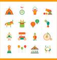 Cartoon circus color icons set