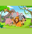cartoon wild animals in jungle vector image vector image