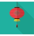 chinese new year clean flat design with lantern vector image vector image