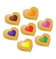 collection of colorful heart shaped jelly filling vector image