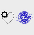 contour heart gear icon and distress asthma vector image vector image