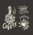 cup drink man holds a mug coffee shop logo vector image vector image