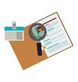 curriculum vitae with id card and magnifying glass vector image
