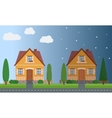 Day and night houses with trees vector image vector image